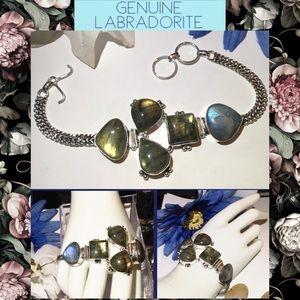 Fab Chunky Labradorite Gemstone Statement Bracelet